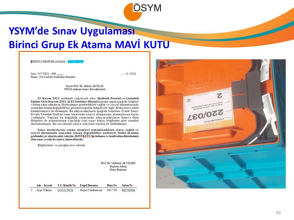 YSYM'de Sınav Uygulaması Birinci Grup Ek Atama MAVİ KUTU 56