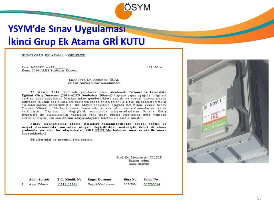 YSYM'de Sınav Uygulaması İkinci Grup Ek Atama GRİ KUTU 57