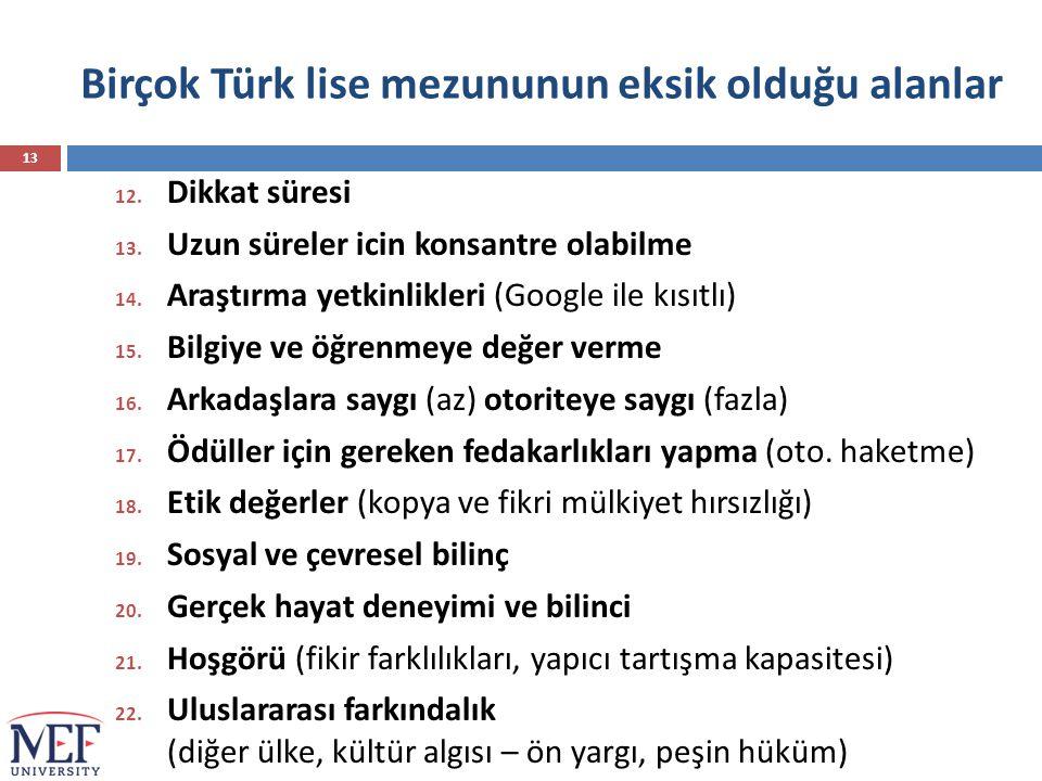 Birçok Türk lise mezununun eksik olduğu alanlar 12. Dikkat süresi 13. Uzun süreler icin konsantre olabilme 14. Araştırma yetkinlikleri (Google ile kıs