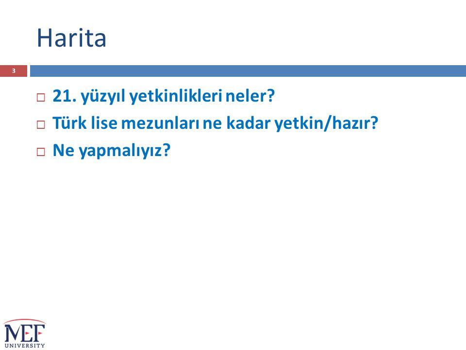 Harita  21. yüzyıl yetkinlikleri neler?  Türk lise mezunları ne kadar yetkin/hazır?  Ne yapmalıyız? 3