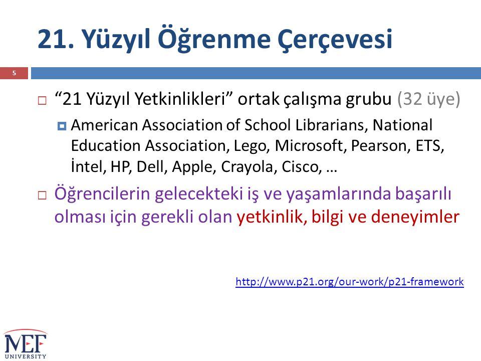 """21. Yüzyıl Öğrenme Çerçevesi  """"21 Yüzyıl Yetkinlikleri"""" ortak çalışma grubu (32 üye)  American Association of School Librarians, National Education"""