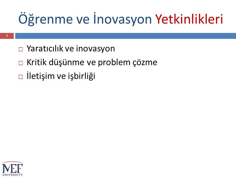 Öğrenme ve İnovasyon Yetkinlikleri  Yaratıcılık ve inovasyon  Kritik düşünme ve problem çözme  İletişim ve işbirliği 7