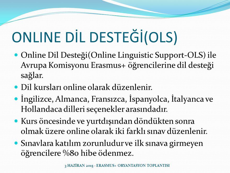 ONLINE DİL DESTEĞİ(OLS) Online Dil Desteği(Online Linguistic Support-OLS) ile Avrupa Komisyonu Erasmus+ öğrencilerine dil desteği sağlar.
