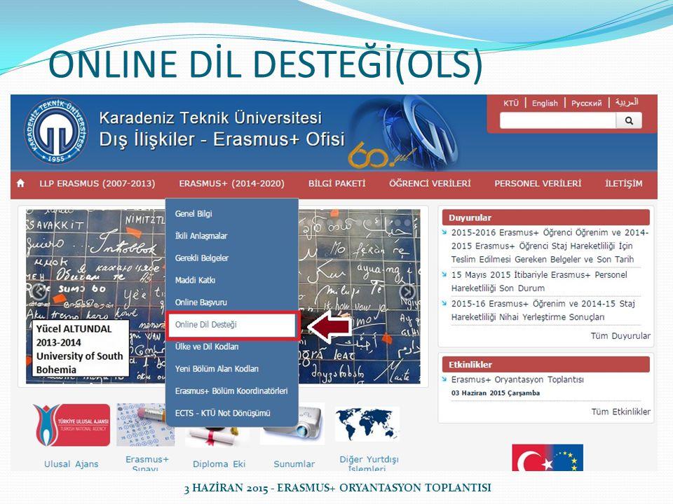 ONLINE DİL DESTEĞİ(OLS) 3 HAZİRAN 2015 - ERASMUS+ ORYANTASYON TOPLANTISI