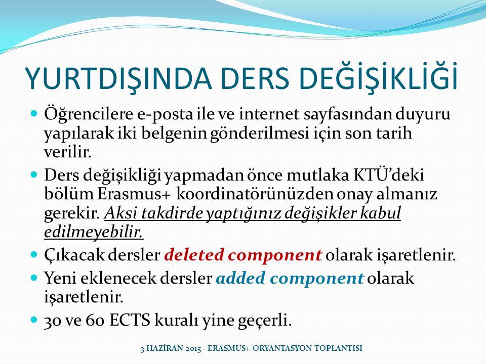 YURTDIŞINDA DERS DEĞİŞİKLİĞİ Öğrencilere e-posta ile ve internet sayfasından duyuru yapılarak iki belgenin gönderilmesi için son tarih verilir.