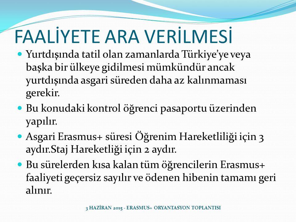 FAALİYETE ARA VERİLMESİ Özellikle Staj Hareketliliği için staj süreleri tam 2 ay olan öğrenciler Türkiye'ye giriş-çıkış yapamazlar.