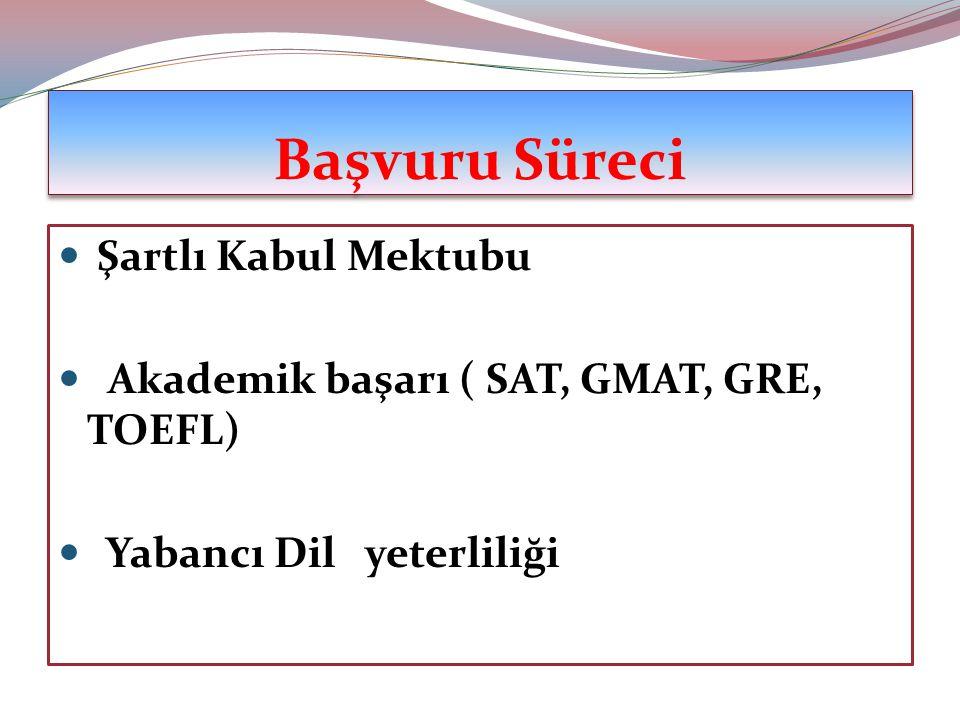 Başvuru Süreci Şartlı Kabul Mektubu Akademik başarı ( SAT, GMAT, GRE, TOEFL) Yabancı Dil yeterliliği