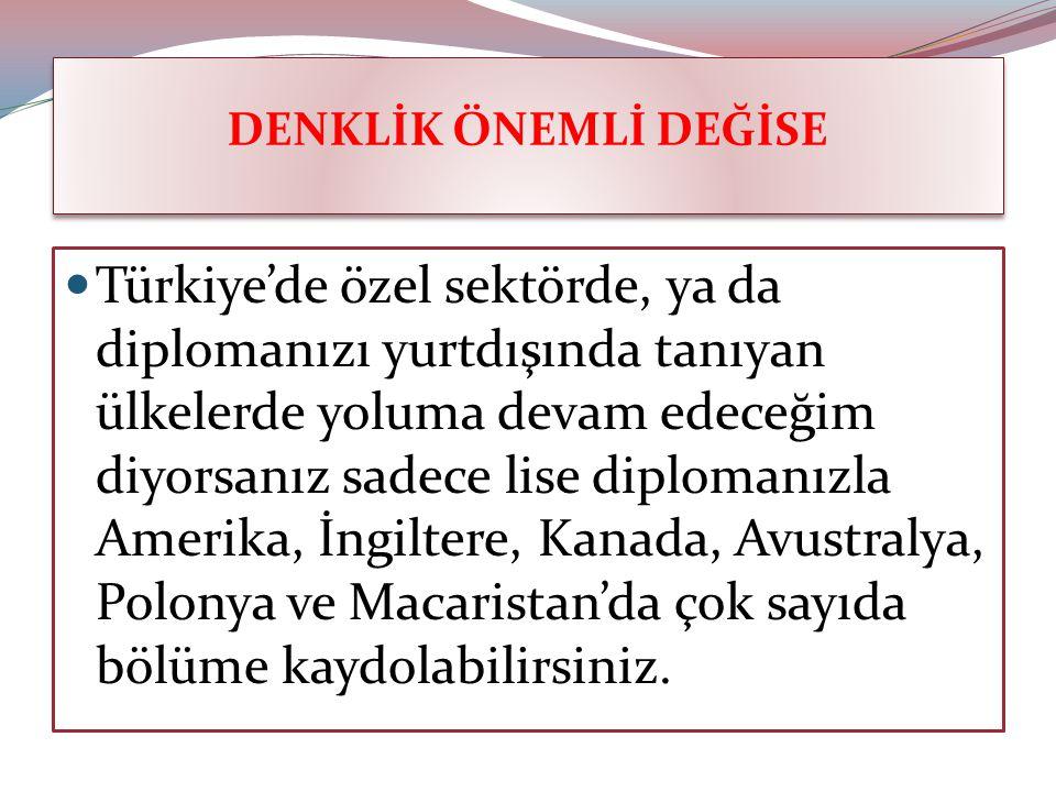 DENKLİK ÖNEMLİ DEĞİSE Türkiye'de özel sektörde, ya da diplomanızı yurtdışında tanıyan ülkelerde yoluma devam edeceğim diyorsanız sadece lise diplomanızla Amerika, İngiltere, Kanada, Avustralya, Polonya ve Macaristan'da çok sayıda bölüme kaydolabilirsiniz.