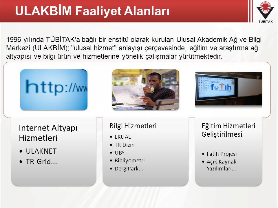 TÜBİTAK ULAKBİM Faaliyet Alanları Internet Altyapı Hizmetleri ULAKNET TR-Grid...