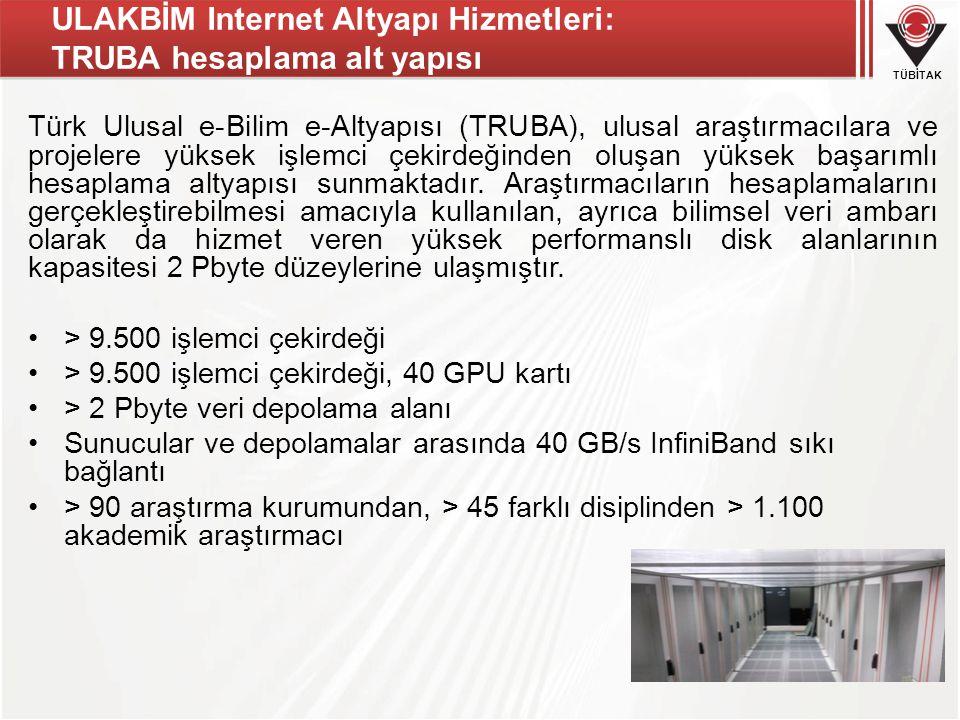 TÜBİTAK ULAKBİM Internet Altyapı Hizmetleri: TRUBA hesaplama alt yapısı Türk Ulusal e-Bilim e-Altyapısı (TRUBA), ulusal araştırmacılara ve projelere yüksek işlemci çekirdeğinden oluşan yüksek başarımlı hesaplama altyapısı sunmaktadır.