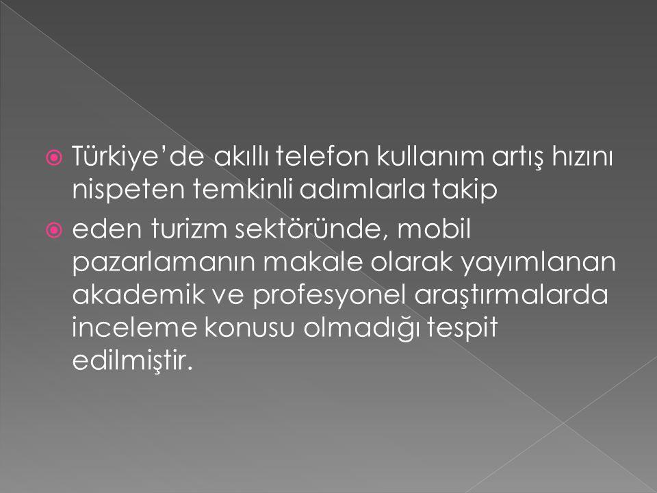  Türkiye'de akıllı telefon kullanım artış hızını nispeten temkinli adımlarla takip  eden turizm sektöründe, mobil pazarlamanın makale olarak yayımlanan akademik ve profesyonel araştırmalarda inceleme konusu olmadığı tespit edilmiştir.