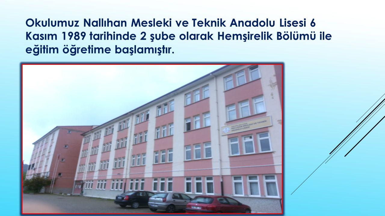 Okulumuz Nallıhan Mesleki ve Teknik Anadolu Lisesi 6 Kasım 1989 tarihinde 2 şube olarak Hemşirelik Bölümü ile eğitim öğretime başlamıştır.