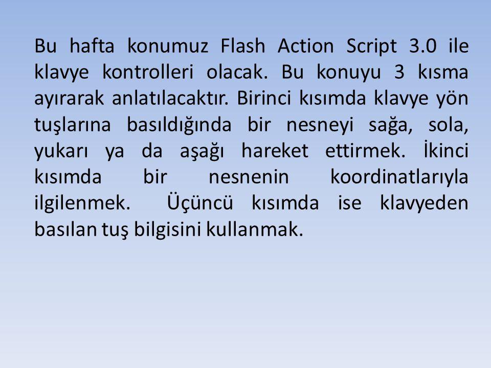 Bu hafta konumuz Flash Action Script 3.0 ile klavye kontrolleri olacak.