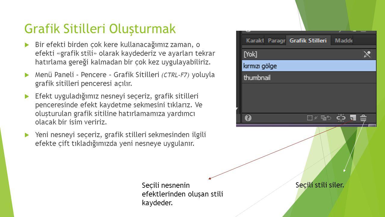 Grafik Sitilleri Oluşturmak  Bir efekti birden çok kere kullanacağımız zaman, o efekti «grafik stili» olarak kaydederiz ve ayarları tekrar hatırlama