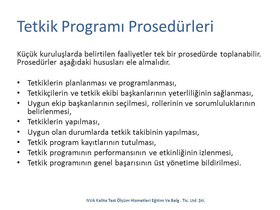 Tetkik Programı Prosedürleri Küçük kuruluşlarda belirtilen faaliyetler tek bir prosedürde toplanabilir. Prosedürler aşağıdaki hususları ele almalıdır.