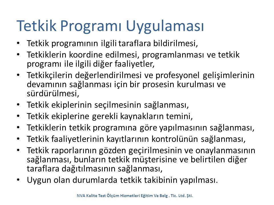 Tetkik Programı Uygulaması Tetkik programının ilgili taraflara bildirilmesi, Tetkiklerin koordine edilmesi, programlanması ve tetkik programı ile ilgi