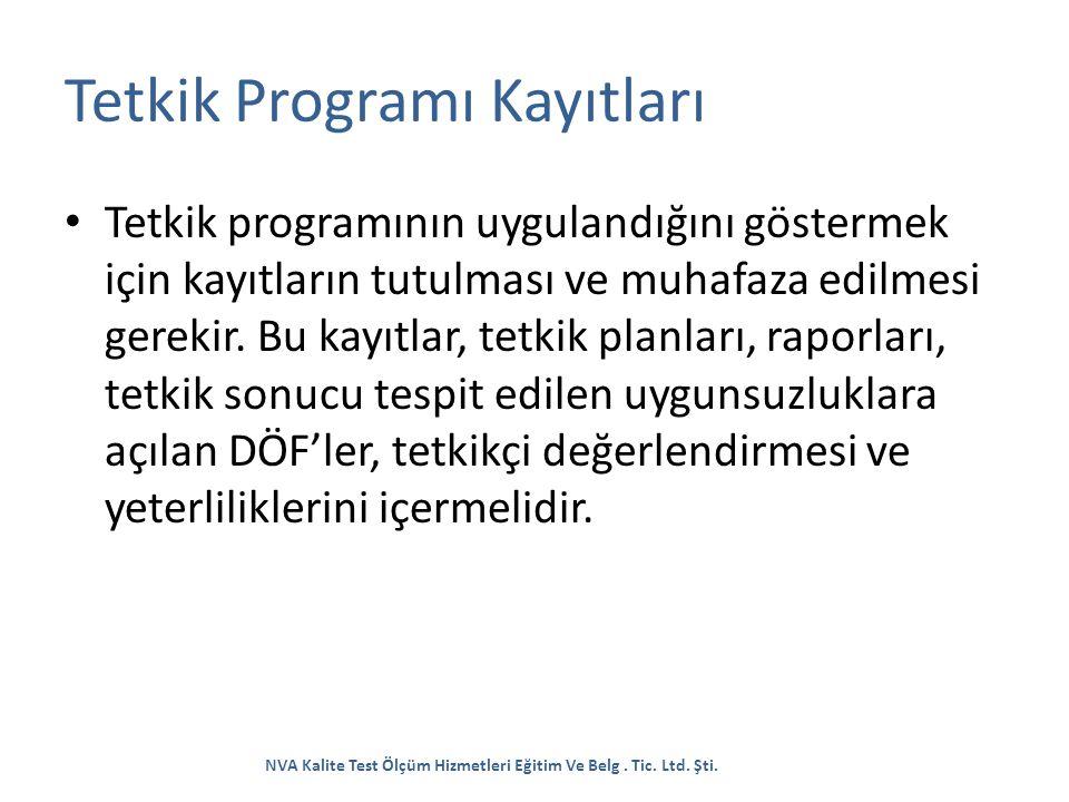 Tetkik Programı Kayıtları Tetkik programının uygulandığını göstermek için kayıtların tutulması ve muhafaza edilmesi gerekir. Bu kayıtlar, tetkik planl