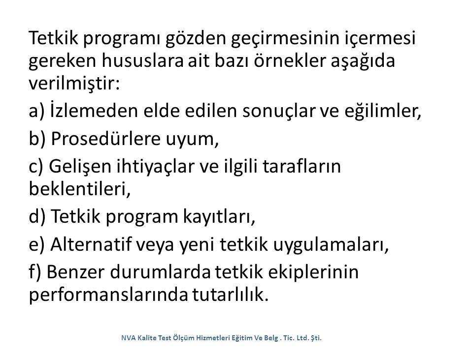 Tetkik programı gözden geçirmesinin içermesi gereken hususlara ait bazı örnekler aşağıda verilmiştir: a) İzlemeden elde edilen sonuçlar ve eğilimler,