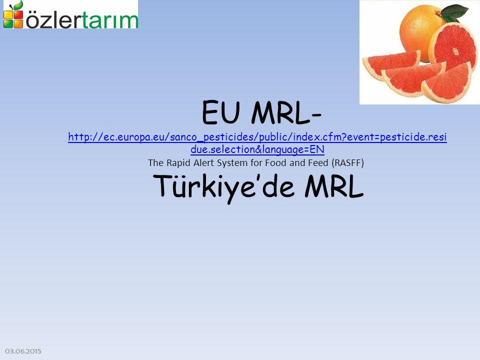 EU MRL- http://ec.europa.eu/sanco_pesticides/public/index.cfm?event=pesticide.resi due.selection&language=EN The Rapid Alert System for Food and Feed