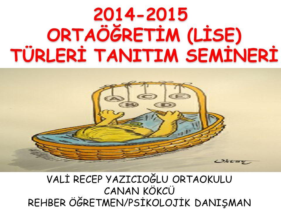 2014-2015 ORTAÖĞRETİM (LİSE) TÜRLERİ TANITIM SEMİNERİ VALİ RECEP YAZICIOĞLU ORTAOKULU CANAN KÖKCÜ REHBER ÖĞRETMEN/PSİKOLOJİK DANIŞMAN