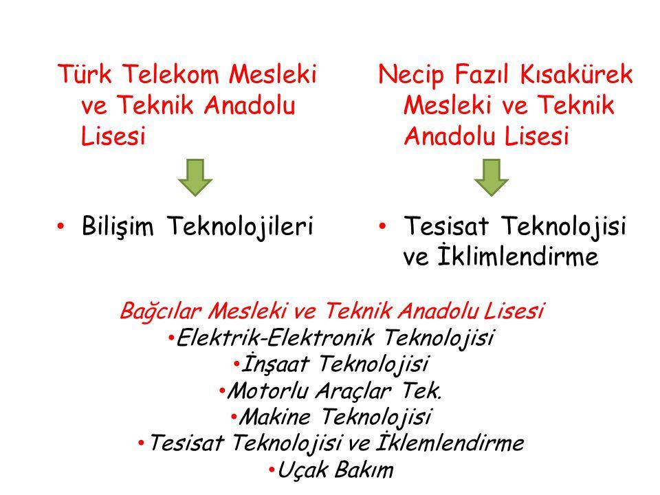 Türk Telekom Mesleki ve Teknik Anadolu Lisesi Bilişim Teknolojileri Necip Fazıl Kısakürek Mesleki ve Teknik Anadolu Lisesi Tesisat Teknolojisi ve İklimlendirme Bağcılar Mesleki ve Teknik Anadolu Lisesi Elektrik-Elektronik Teknolojisi İnşaat Teknolojisi Motorlu Araçlar Tek.