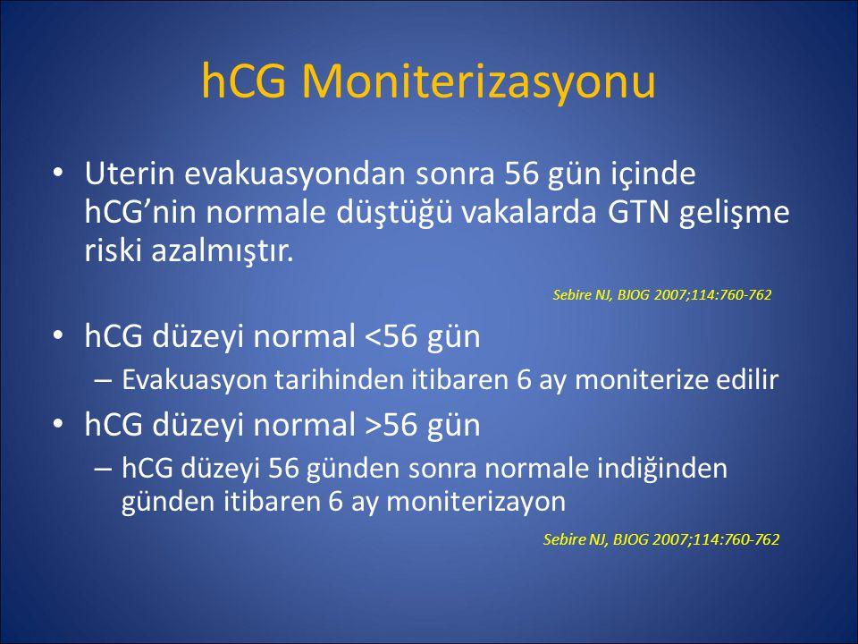 hCG Moniterizasyonu Uterin evakuasyondan sonra 56 gün içinde hCG'nin normale düştüğü vakalarda GTN gelişme riski azalmıştır. Sebire NJ, BJOG 2007;114:
