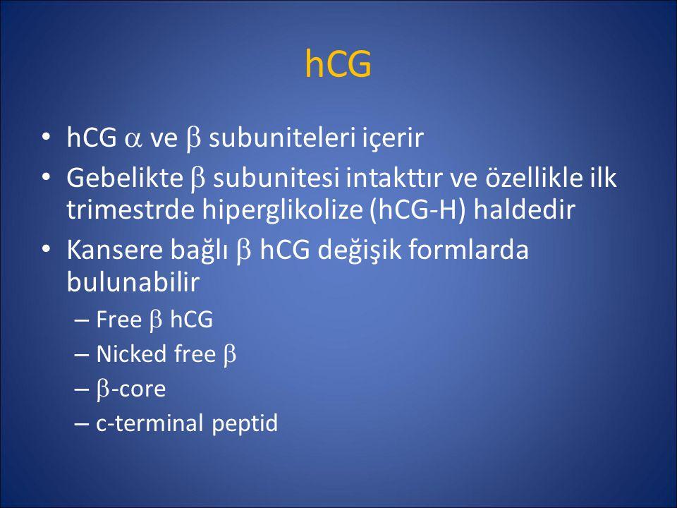 hCG hCG  ve  subuniteleri içerir Gebelikte  subunitesi intakttır ve özellikle ilk trimestrde hiperglikolize (hCG-H) haldedir Kansere bağlı  hCG