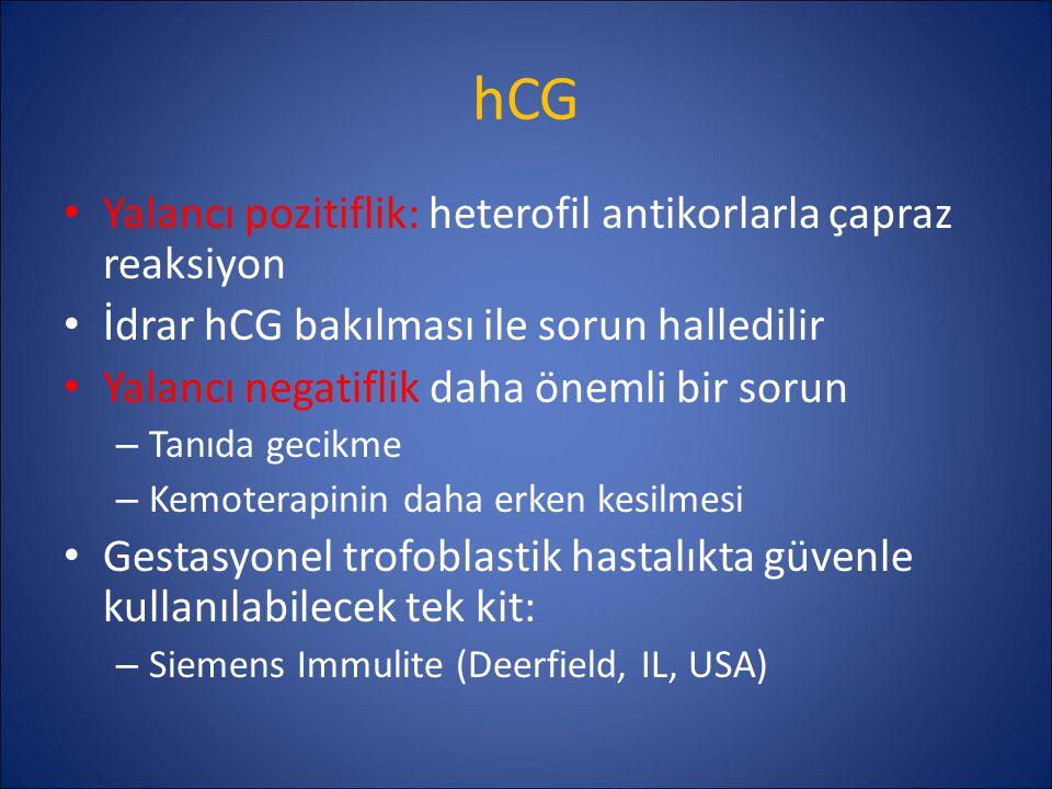 hCG Yalancı pozitiflik: heterofil antikorlarla çapraz reaksiyon İdrar hCG bakılması ile sorun halledilir Yalancı negatiflik daha önemli bir sorun – Ta
