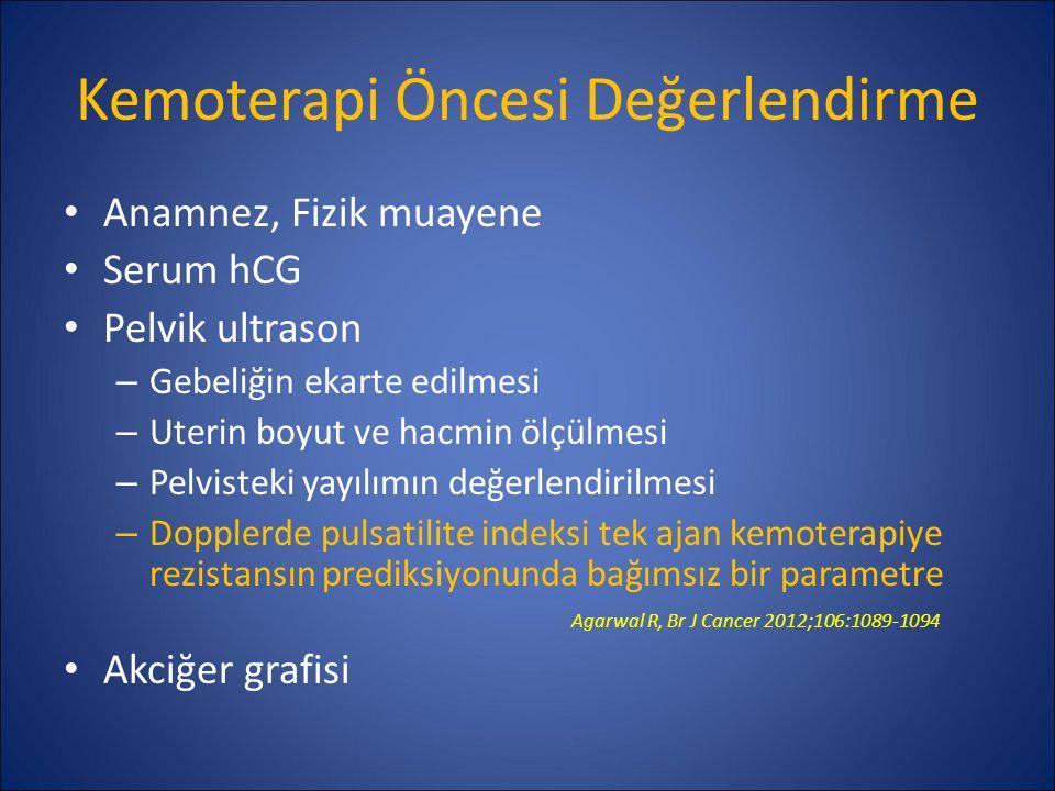 Kemoterapi Öncesi Değerlendirme Anamnez, Fizik muayene Serum hCG Pelvik ultrason – Gebeliğin ekarte edilmesi – Uterin boyut ve hacmin ölçülmesi – Pelv