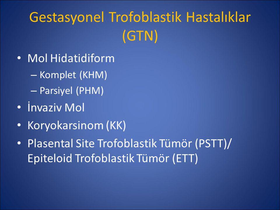 Gestasyonel Trofoblastik Hastalıklar (GTN) Mol Hidatidiform – Komplet (KHM) – Parsiyel (PHM) İnvaziv Mol Koryokarsinom (KK) Plasental Site Trofoblasti