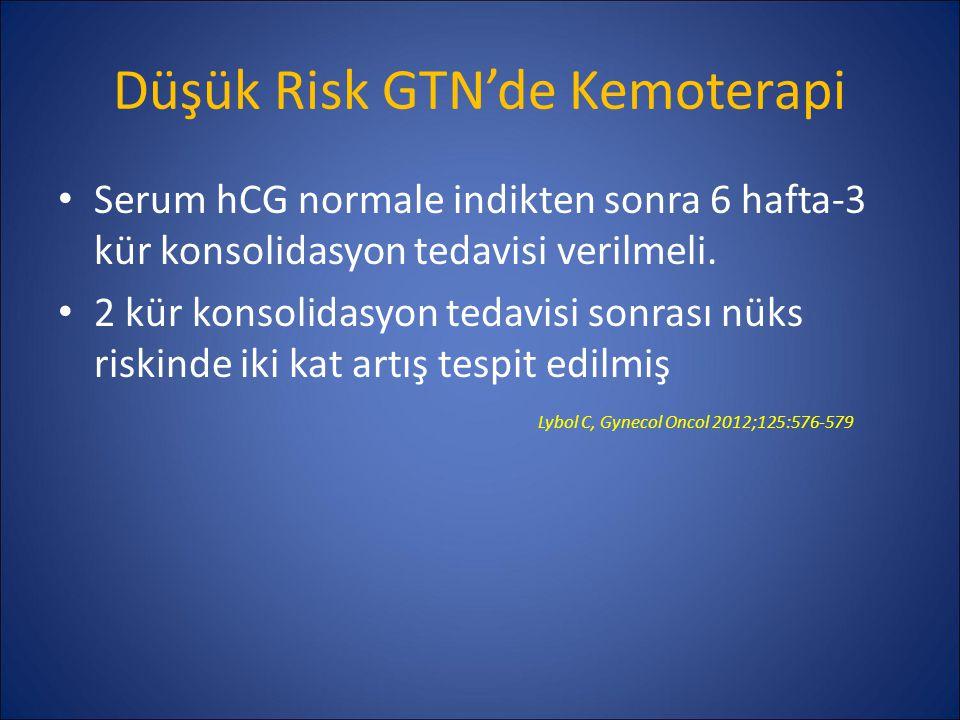 Düşük Risk GTN'de Kemoterapi Serum hCG normale indikten sonra 6 hafta-3 kür konsolidasyon tedavisi verilmeli. 2 kür konsolidasyon tedavisi sonrası nük