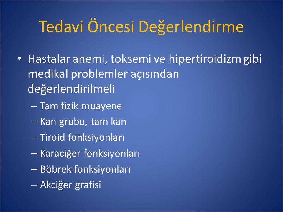 Tedavi Öncesi Değerlendirme Hastalar anemi, toksemi ve hipertiroidizm gibi medikal problemler açısından değerlendirilmeli – Tam fizik muayene – Kan gr