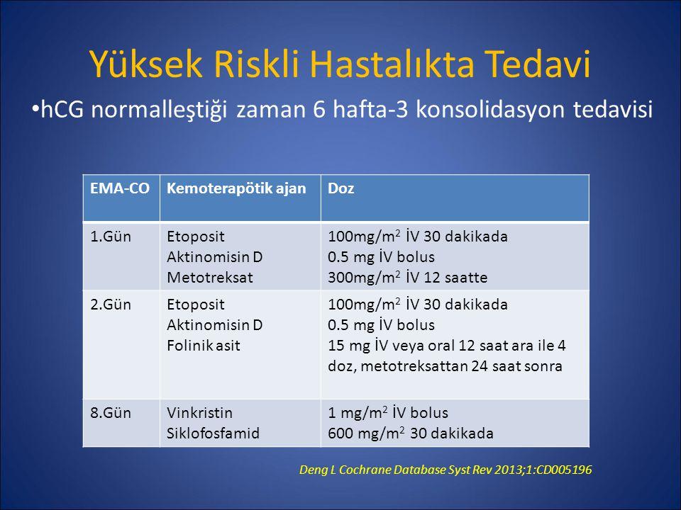 Yüksek Riskli Hastalıkta Tedavi EMA-COKemoterapötik ajanDoz 1.GünEtoposit Aktinomisin D Metotreksat 100mg/m 2 İV 30 dakikada 0.5 mg İV bolus 300mg/m 2