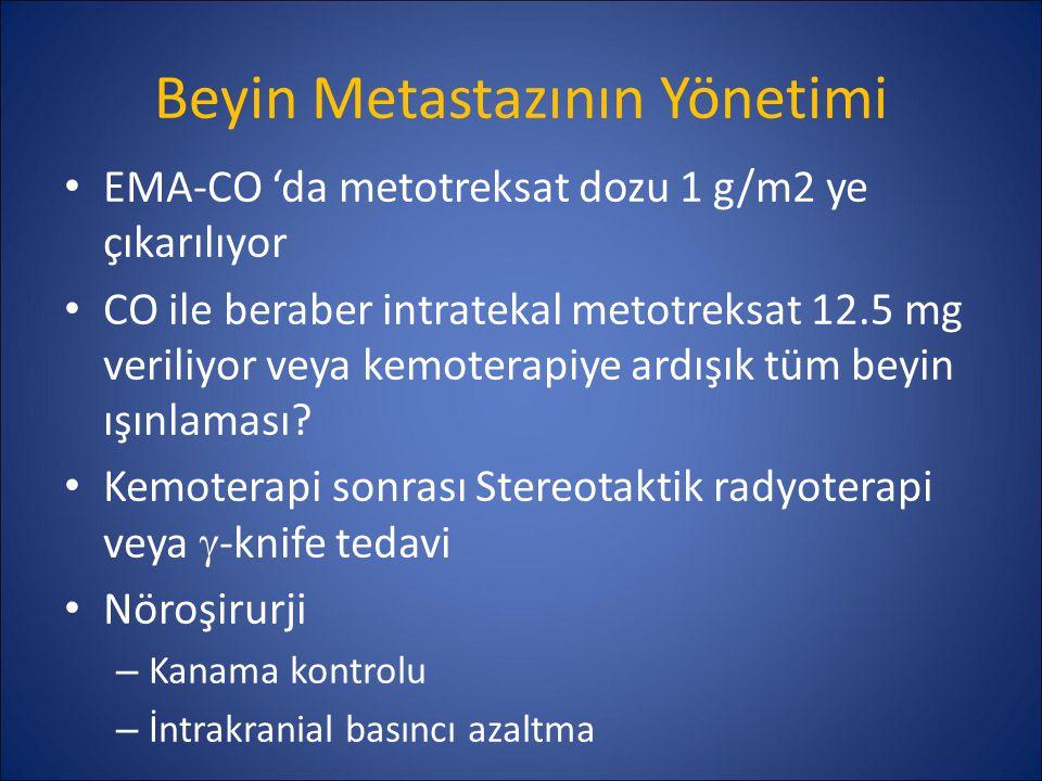 Beyin Metastazının Yönetimi EMA-CO 'da metotreksat dozu 1 g/m2 ye çıkarılıyor CO ile beraber intratekal metotreksat 12.5 mg veriliyor veya kemoterapiy