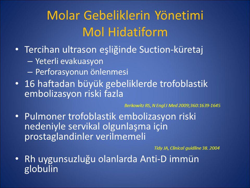 Molar Gebeliklerin Yönetimi Mol Hidatiform Fertilitesini tamamlamış ve metastatik hastalığı olmayanlarda: Histerektomi Oksitosin, prostaglandin ve histerotomi önerilmemektedir – Aşırı kanama – Enfeksiyon – Molar doku retansiyonu – Artmış postmolar gestasyonel trofoblastik neoplazi insidansı Berkowitz RS, N Engl J Med 2009;360:1639-1645