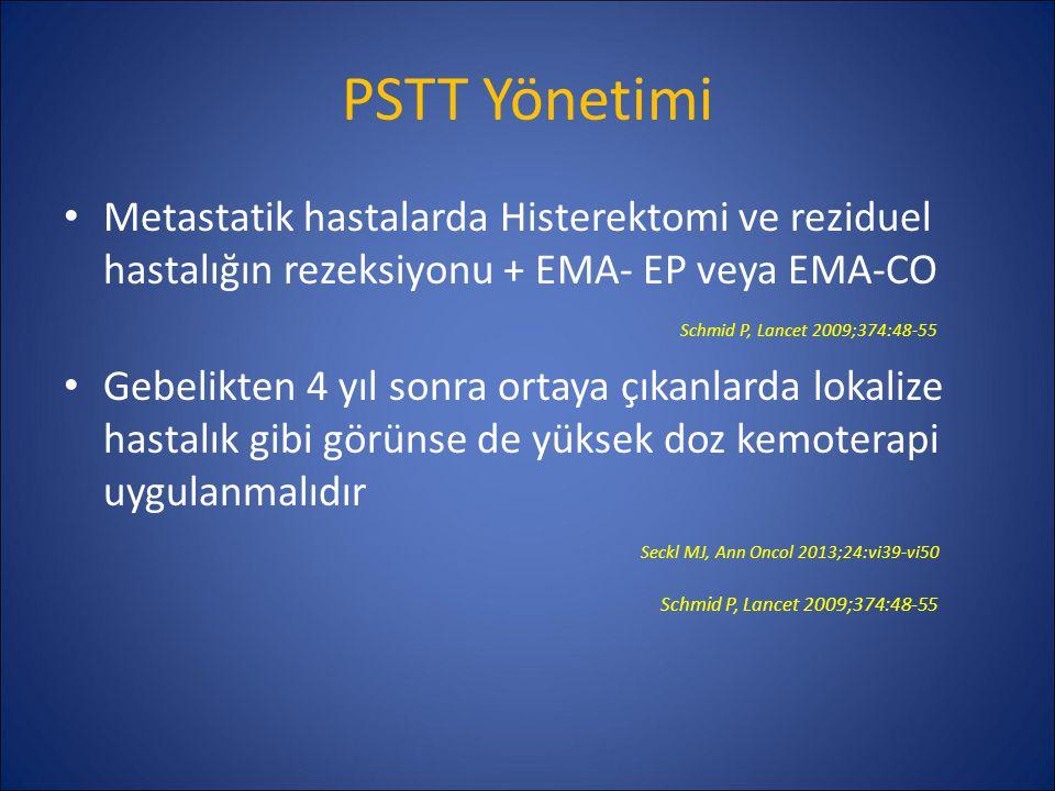 PSTT Yönetimi Metastatik hastalarda Histerektomi ve reziduel hastalığın rezeksiyonu + EMA- EP veya EMA-CO Schmid P, Lancet 2009;374:48-55 Gebelikten 4