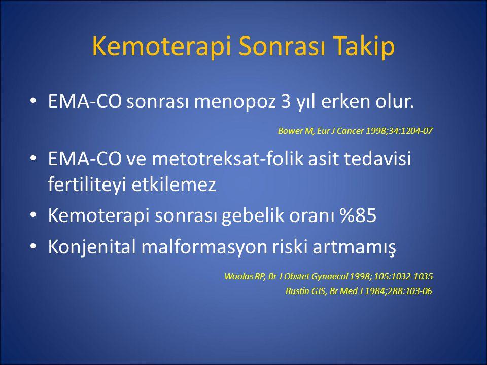 Kemoterapi Sonrası Takip EMA-CO sonrası menopoz 3 yıl erken olur. Bower M, Eur J Cancer 1998;34:1204-07 EMA-CO ve metotreksat-folik asit tedavisi fert