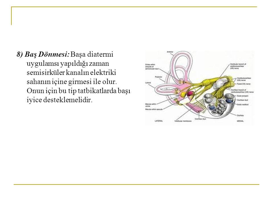 8) Baş Dönmesi: Başa diatermi uygulamsı yapıldığı zaman semisirküler kanalın elektriki sahanın içine girmesi ile olur. Onun için bu tip tatbikatlarda