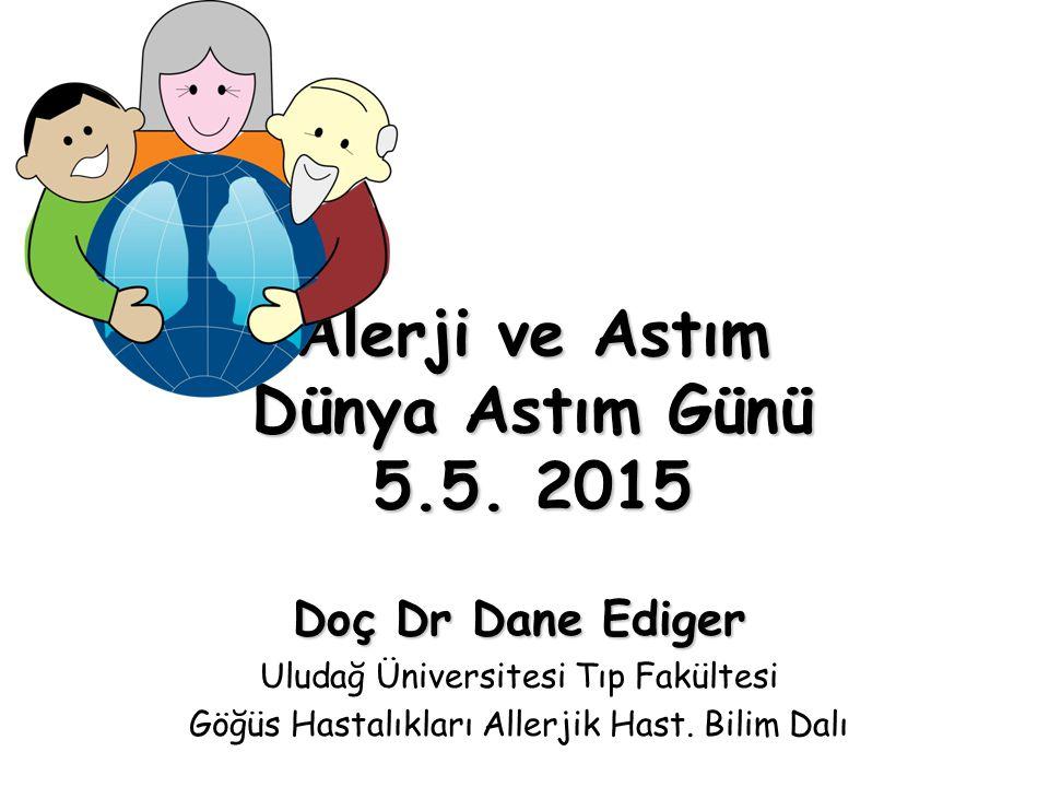 Alerji ve Astım Dünya Astım Günü 5.5. 2015 Doç Dr Dane Ediger Uludağ Üniversitesi Tıp Fakültesi Göğüs Hastalıkları Allerjik Hast. Bilim Dalı