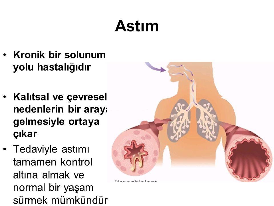 Astım Kronik bir solunum yolu hastalığıdır Kalıtsal ve çevresel nedenlerin bir araya gelmesiyle ortaya çıkar Tedaviyle astımı tamamen kontrol altına a