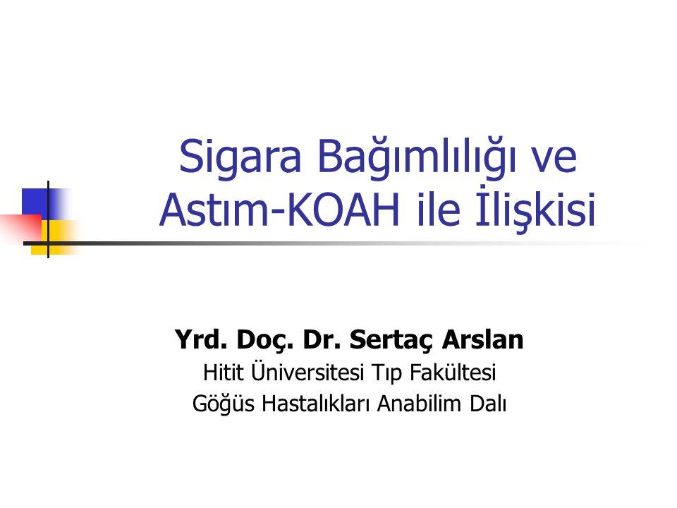 Sigara Bağımlılığı ve Astım-KOAH ile İlişkisi Yrd. Doç. Dr. Sertaç Arslan Hitit Üniversitesi Tıp Fakültesi Göğüs Hastalıkları Anabilim Dalı