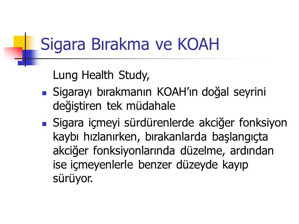 Sigara Bırakma ve KOAH Lung Health Study, Sigarayı bırakmanın KOAH'ın doğal seyrini değiştiren tek müdahale Sigara içmeyi sürdürenlerde akciğer fonksi