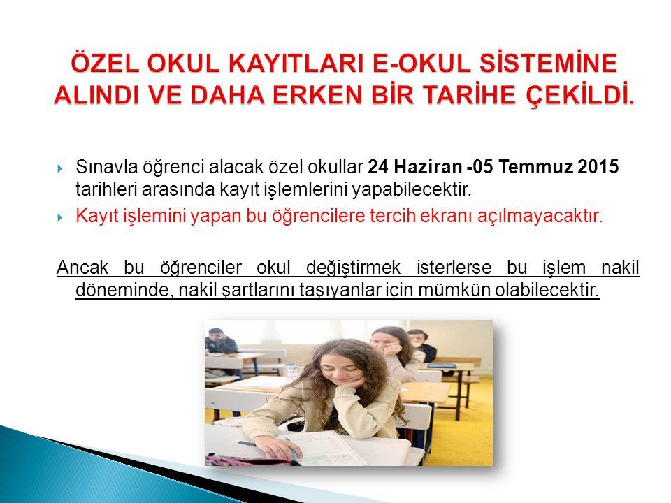  Sınavla öğrenci alacak özel okullar 24 Haziran -05 Temmuz 2015 tarihleri arasında kayıt işlemlerini yapabilecektir.  Kayıt işlemini yapan bu öğrenc