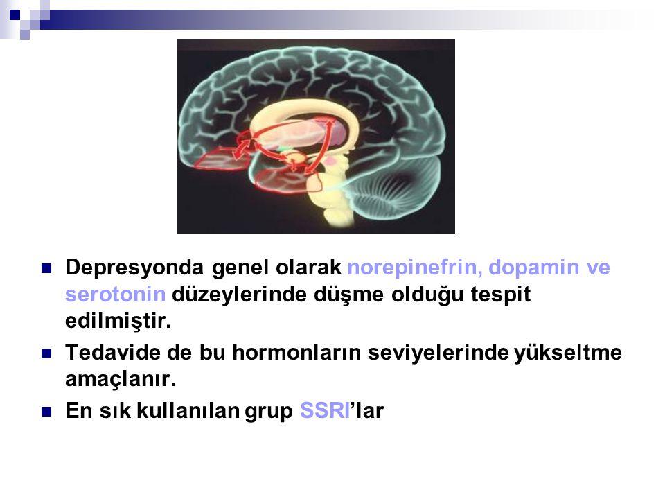 Depresyonda genel olarak norepinefrin, dopamin ve serotonin düzeylerinde düşme olduğu tespit edilmiştir. Tedavide de bu hormonların seviyelerinde yüks