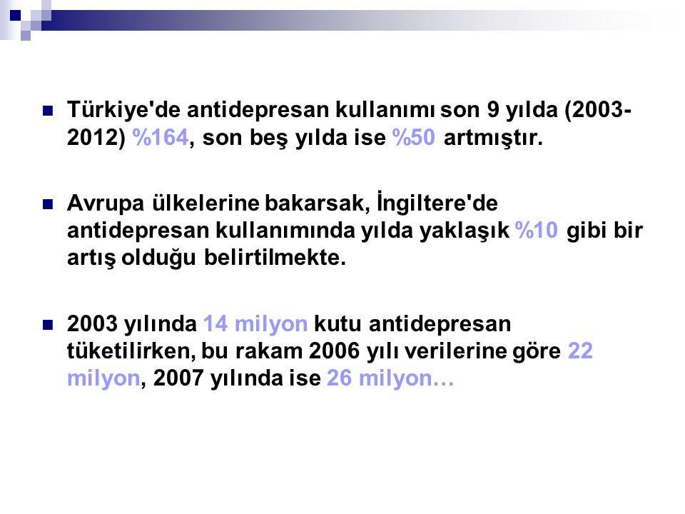Türkiye'de antidepresan kullanımı son 9 yılda (2003- 2012) %164, son beş yılda ise %50 artmıştır. Avrupa ülkelerine bakarsak, İngiltere'de antidepresa