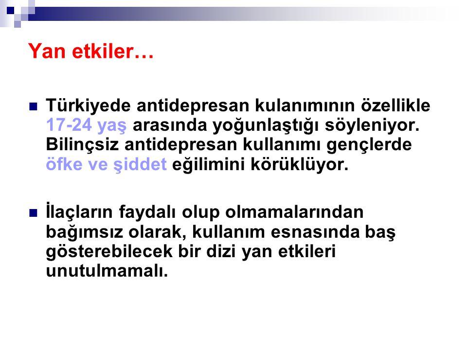 Türkiyede antidepresan kulanımının özellikle 17-24 yaş arasında yoğunlaştığı söyleniyor. Bilinçsiz antidepresan kullanımı gençlerde öfke ve şiddet eği