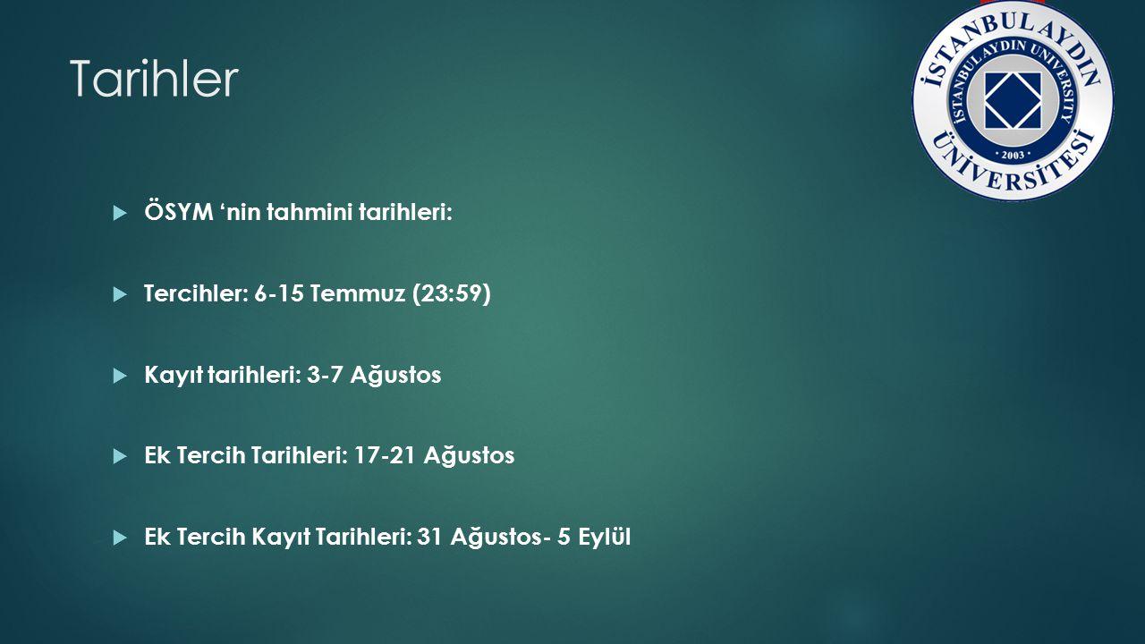 Tarihler  ÖSYM 'nin tahmini tarihleri:  Tercihler: 6-15 Temmuz (23:59)  Kayıt tarihleri: 3-7 Ağustos  Ek Tercih Tarihleri: 17-21 Ağustos  Ek Terc