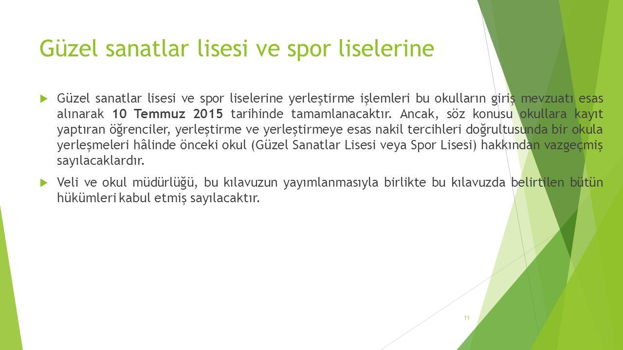 Güzel sanatlar lisesi ve spor liselerine  Güzel sanatlar lisesi ve spor liselerine yerleştirme işlemleri bu okulların giriş mevzuatı esas alınarak 10 Temmuz 2015 tarihinde tamamlanacaktır.