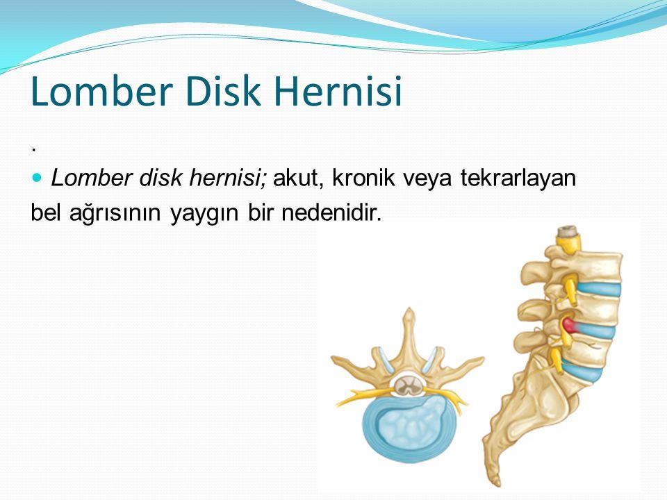 Lomber Disk Hernisi. Lomber disk hernisi; akut, kronik veya tekrarlayan bel ağrısının yaygın bir nedenidir.