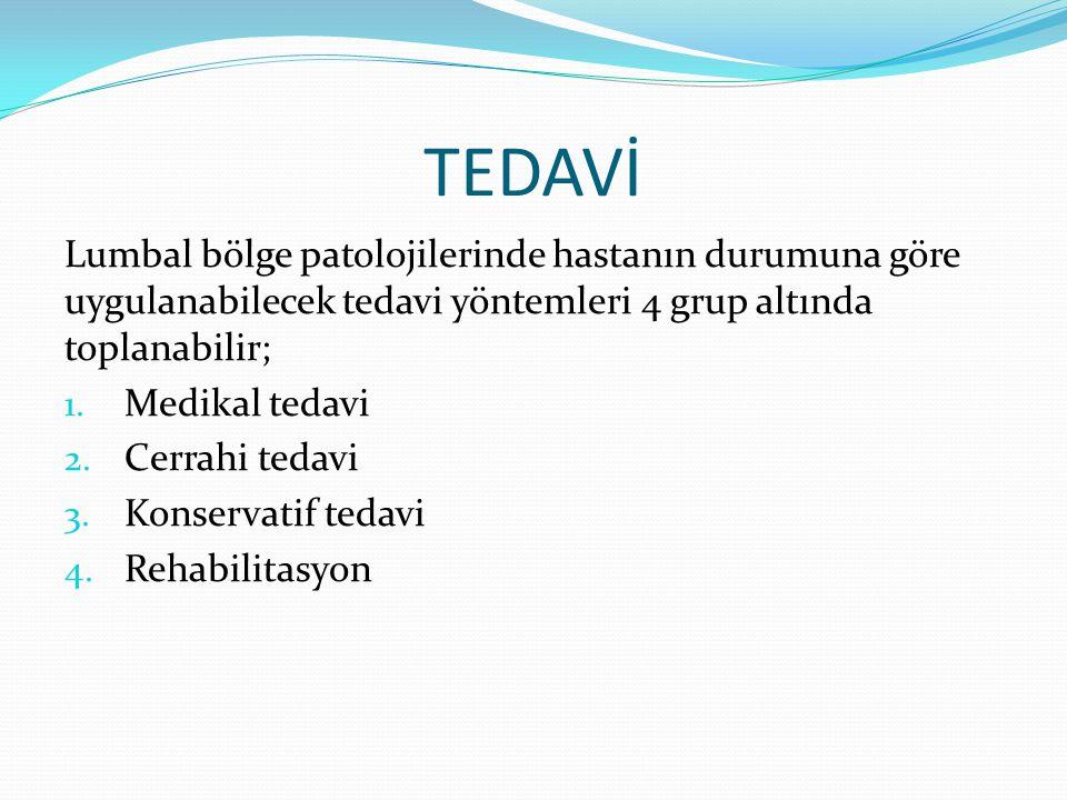TEDAVİ Lumbal bölge patolojilerinde hastanın durumuna göre uygulanabilecek tedavi yöntemleri 4 grup altında toplanabilir; 1. Medikal tedavi 2. Cerrahi